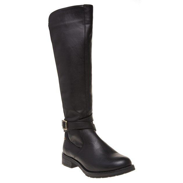 New Womens XTI Black 46186 Pu Boots Knee-High Elasticated Zip