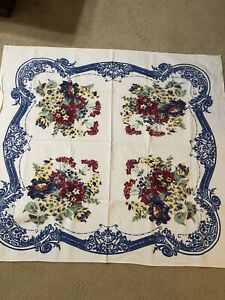 Vintage-Floral-Cotton-Tablecloth-45-x-50-Blue-Red-Yellow-Green-KITCHEN-NICE