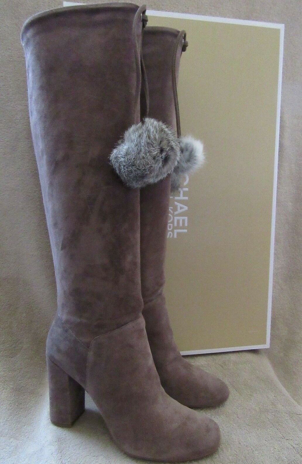MICHAEL KORS Remi Tall Taupe Suede & Rabbit Fur Boots Shoes US 8.5 NWB