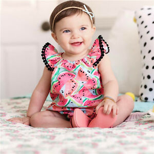 Watermelon Baby Girls Kids Fly Sleeve Romper Bodysuit Jumpsuit