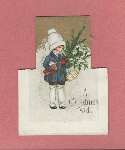 Cute Girl On Lovely Stand Up Die Cut Art Deco Christmas Greeting
