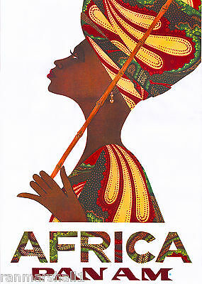 Beautiful Woman Africa African Vintage Travel Art Poster Advertisement