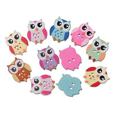 100PCs Mixed Wooden Buttons Cartoon Owl 2 Holes Fit Sewing DIY Scrapbook