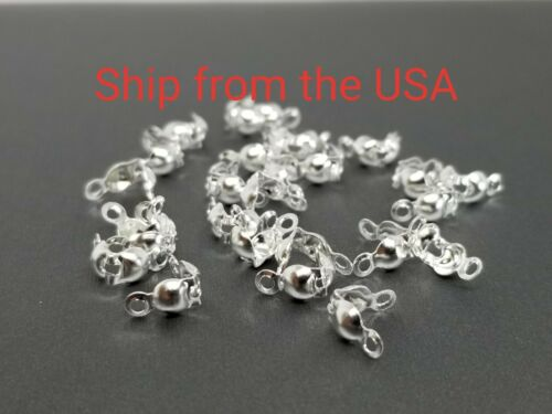 Calotte Ends 7.5x4 mm Clam shell Knot Cover Silver color 26 PCs Bead Tips