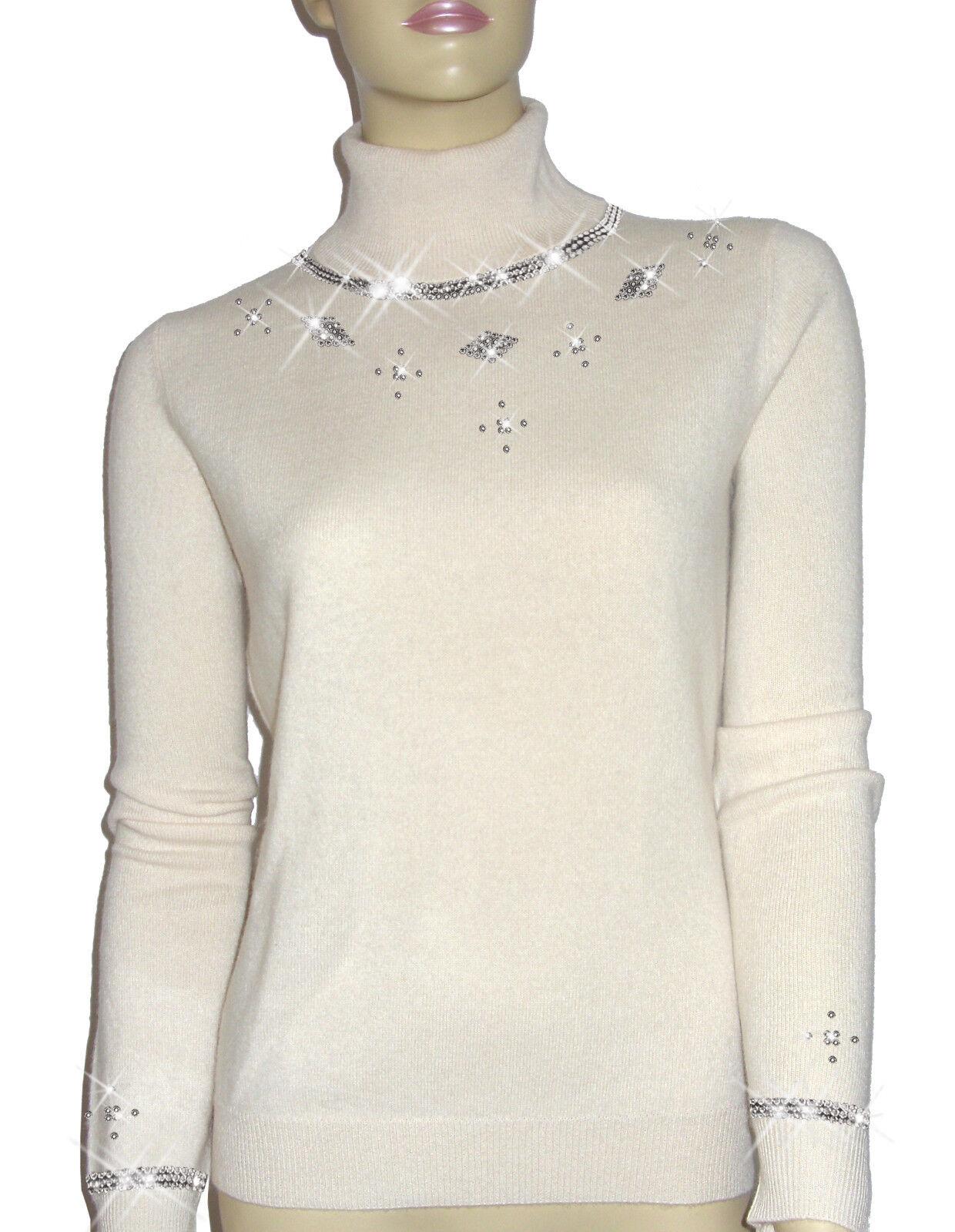 Luxe Oh ` Dor 100% Cashmere Pullover collo Alto Alto Alto Manhattan Luxe Bianco 42 44 M L aaca48