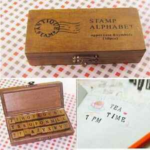 box letter alphabet 30 pcs retro rubber stamp alphabet wooden box set print 52676