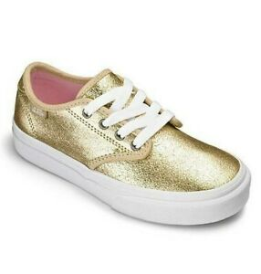 Details about VANS GIRLS CAMDEN METALLIC GOLD LEATHER LACE-UP TRAINER SHOES UK10 UK12 UK1