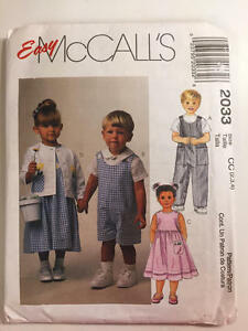 Vintage-Easy-McCall-039-s-Pattern-2033-Toddlers-Romper-Dress-Jacket-Size-2-3-4-New