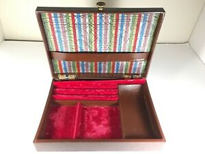 Vintage-Lord-Buxton-Leather-Trinket-Jewelry-Box-Red-Velvet-Lined-Brown