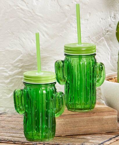 Duo-Toned Green Cactus Mason Jar SippersSet of 2KitchenDesertFun