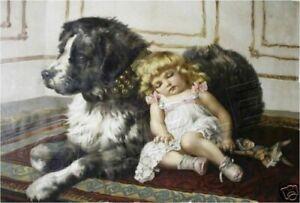 "VICTORIAN Girl & NEWFOUNDLAND Dog CANVAS Art PRINT - 11"" x 8.5"""