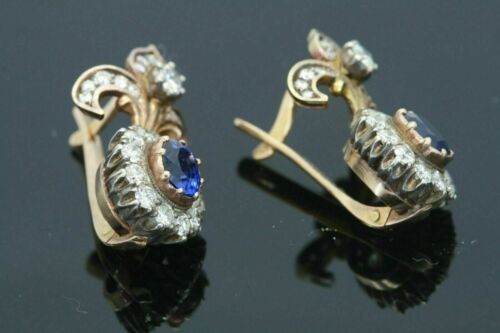 Details about  /3Ct Antique Oval Cut Blue Sapphire /& Diamond Drop Earrings 14K Yellow Gold Over
