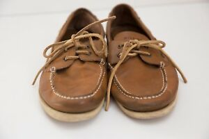 Details About Tommy Hilfiger Leather Boat Shoes Men S Size 10 Brown Non Marking Soles