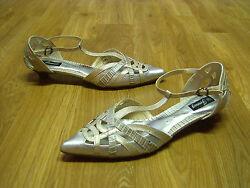 Damen Schuhe Riemchen Pumps Abendschuhe Silber Beige Gr. 36 37 38 39 40