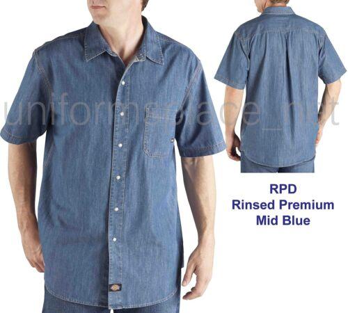 Men shirts  Dickies Short Sleeve Denim Work Shirt Regular Fit Cotton WS302 Blue