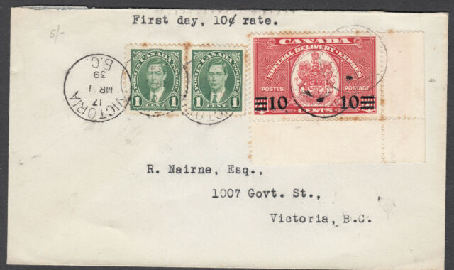 Canada FDC Scott #E9 10c on 20c Mar 1, 1939