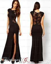 Womens Evening Dress Black Maxi Ball Gown Prom Party Formal Long Lace Size 12'14