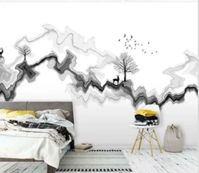 3D Ink Painting I1600 Wallpaper Mural Sefl-adhesive Removable Sticker Wendy