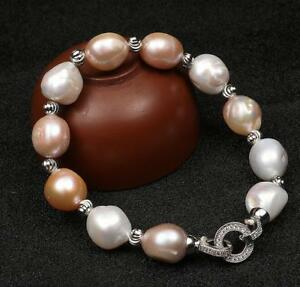 Beautiful-Natural-11-12mm-Multicolor-Baroque-Pearl-Bracelet-19-5-20cm