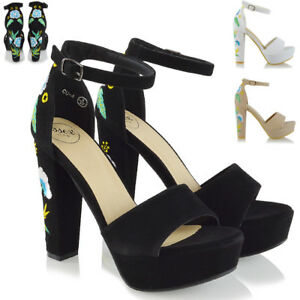 Womens-Strappy-Platform-High-Heel-Sandals-Ladies-Ankle-Strap-Embroidered-Shoes