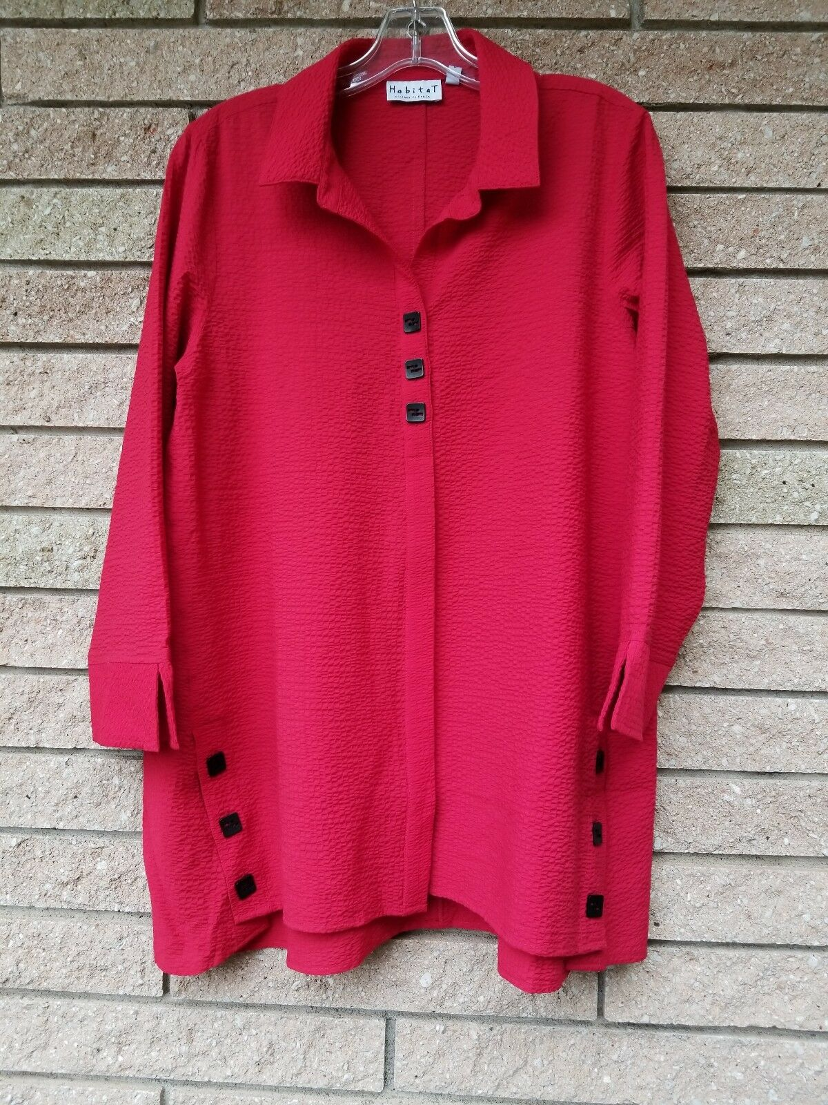 New XL 2X HABITAT button down Crimson RED swing tunic buttons CUTE