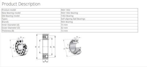 NSK 1302 Self-Aligning Ball Bearings 15x42x13mm