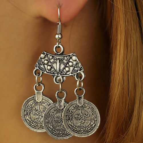 Bohemian Coin Hippie Tibetan Tribal Dangle Hook Earrings Coin Ear Stud JewelryBC