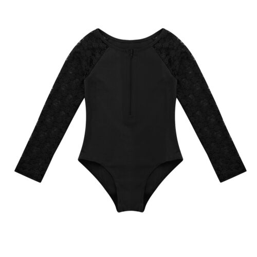 Girl Kid Gymnastics Long Sleeve Leotards Ballet Dance Bodysuit Dancewear Costume