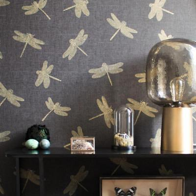 Black and Gold Dragonfly Wallpaper Paste the Wall Textured Vinyl 35897-3