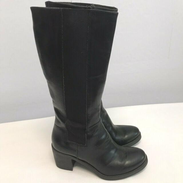 Barney's New York Black Leather Chunky Heel Knee High Boots Size EU 37 / 7