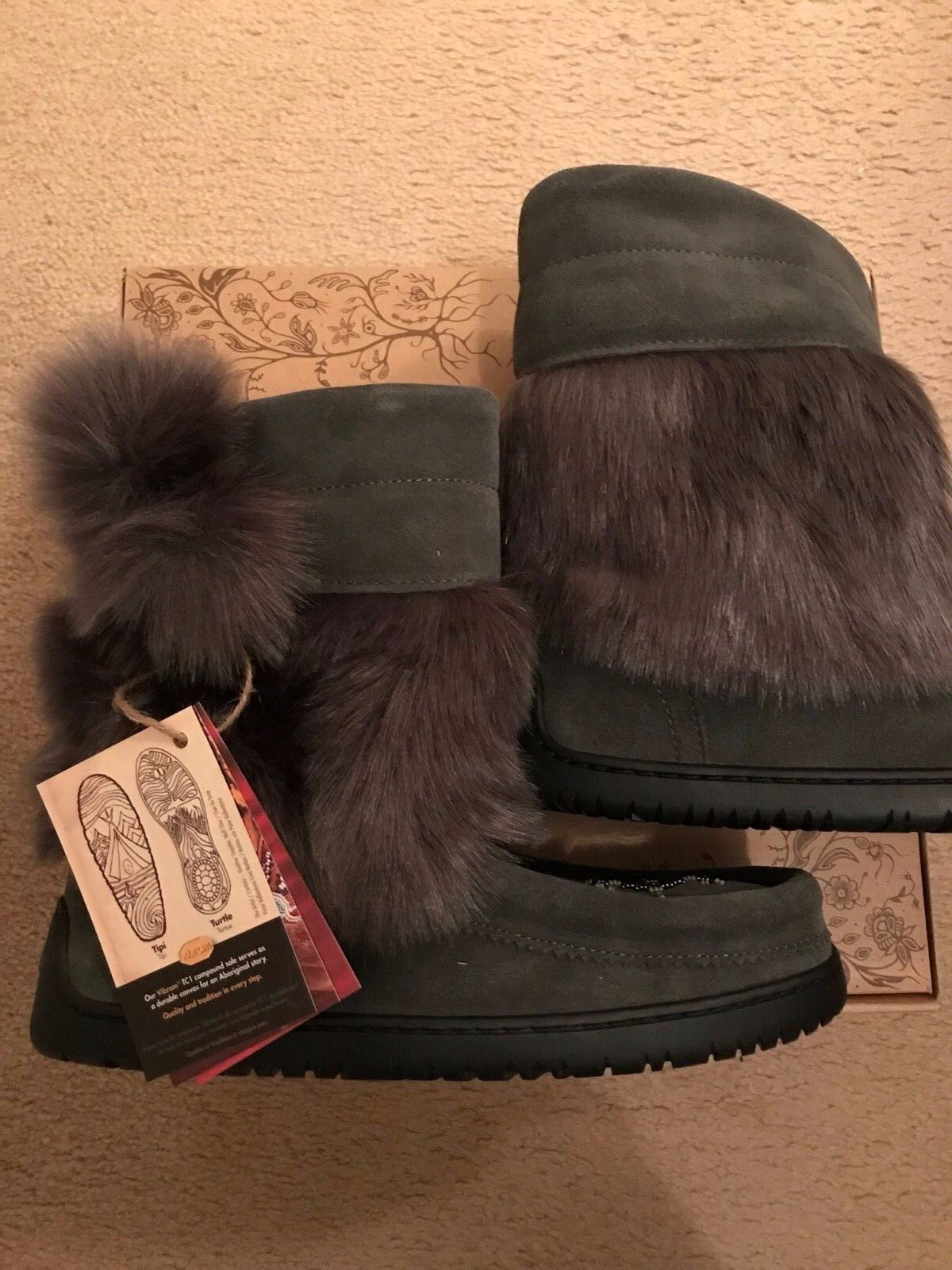MANITOBAH FOR J.CREW FAUX-FUR MUKLUKS SIZE 9M CHARCOAL H1195