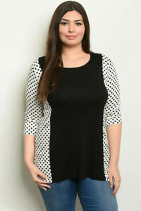 Black-and-White-Polka-Dot-Plus-Size-Tunic-Top-2XL-Jersey-Knit