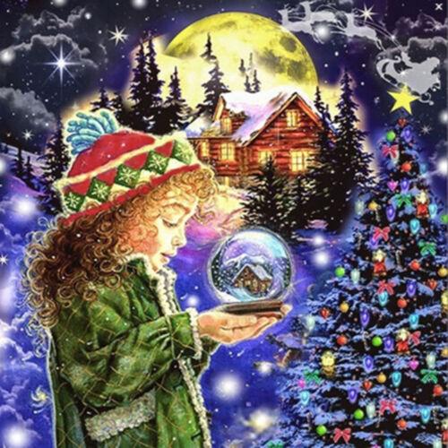 5D Full Diamond Painting Children Deer Christmas Tree Girl Embroidery Art 1066#