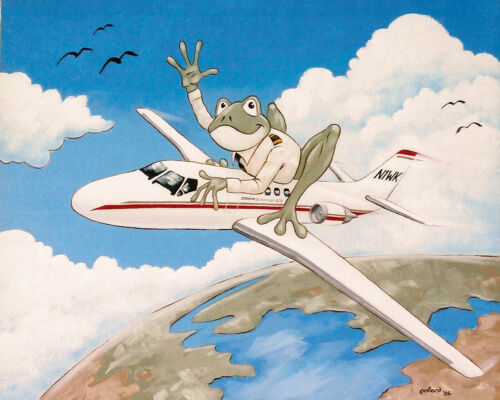 FROG airplane by pollard cessna 8x10 signed art print private jet pilot cartoon