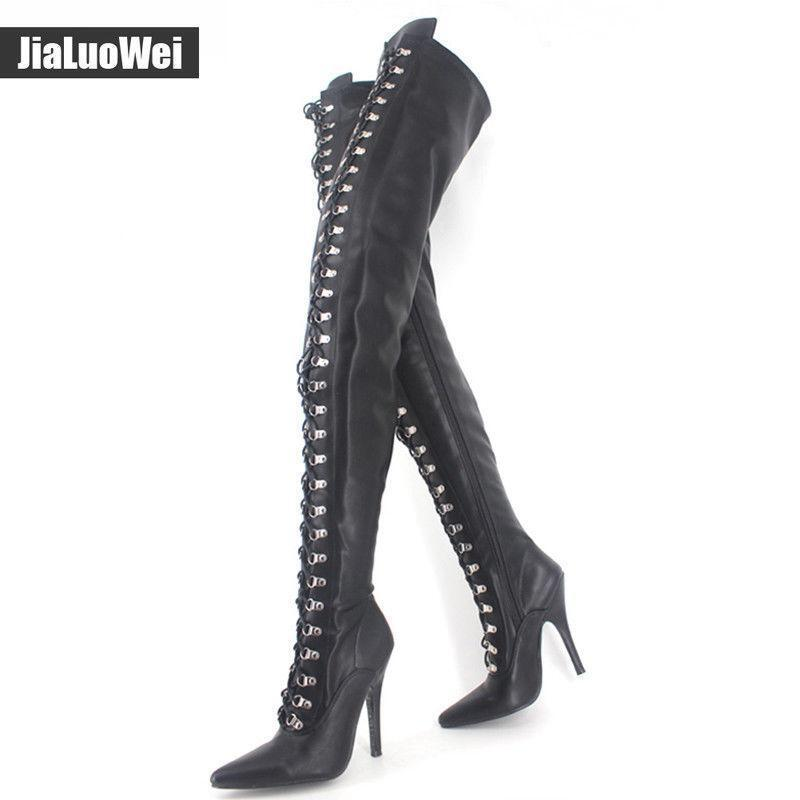 12CM High Heel Lace-Up Full Zip Flex PU Thigh Over-Knee Credch High Boots 2019