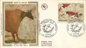 LETTRE-PREMIER-JOUR-GROTTE-PREHISTORIQUE-DE-LASCAUX-VACHE-A-TETE-NOIRE-1968