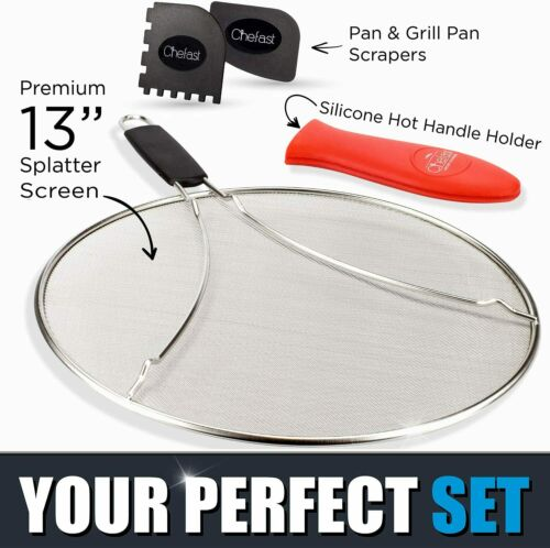 Chefast Splatter Screen Set 13Inch Stainless Steel Grease Guard Grill and