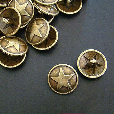 15 mm 50 METALL KNÖPFE Farbe Antik Bronze Knopf p00kn0045 STERN