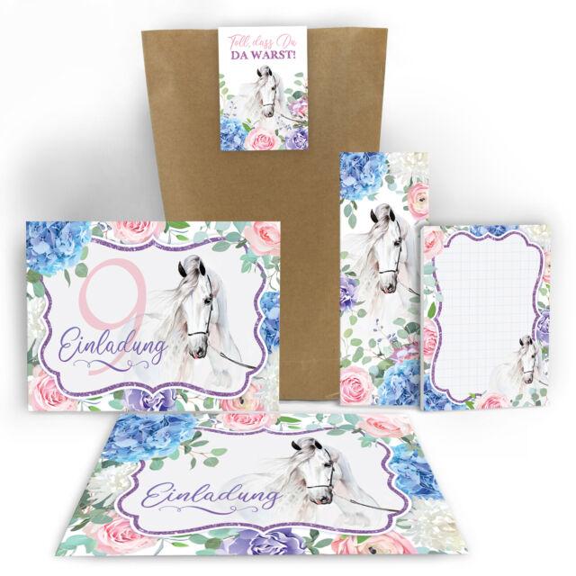 Einladungskarten neunte 9. Geburtstag Pferd Mädchen Mitgebsel Gastgeschenk