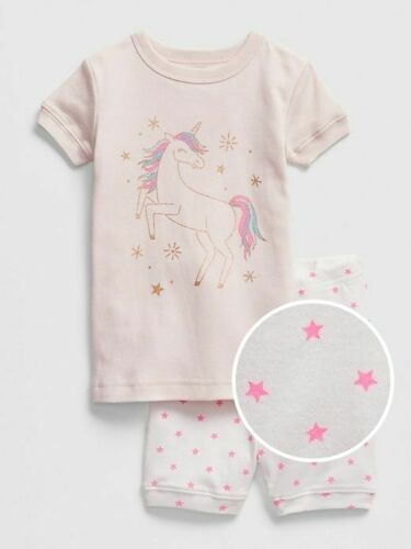 NWT BABY GAP GIRLS PAJAMAS SHORTS glitter unicorn pink    u pick size