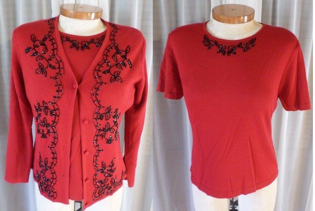 NWT NEW M L rot Blouse Sweater Lady Twin Set Bead Medium Large Woman 8 Wool Blen