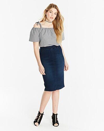 Sizes 14-24 *QUALITY* L27 Ladies Pull-On Stretch Denim Tube Skirt Indigo