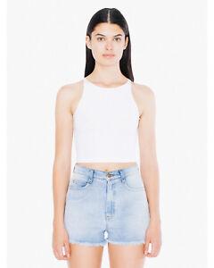 0a53b5eb62925b American Apparel Women s Ladies Cotton Spandex Sleeveless Crop Top ...