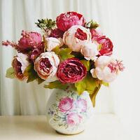 1bouquet Vintage Artificial Peony Silk Flower Room Wedding Party Decor Us