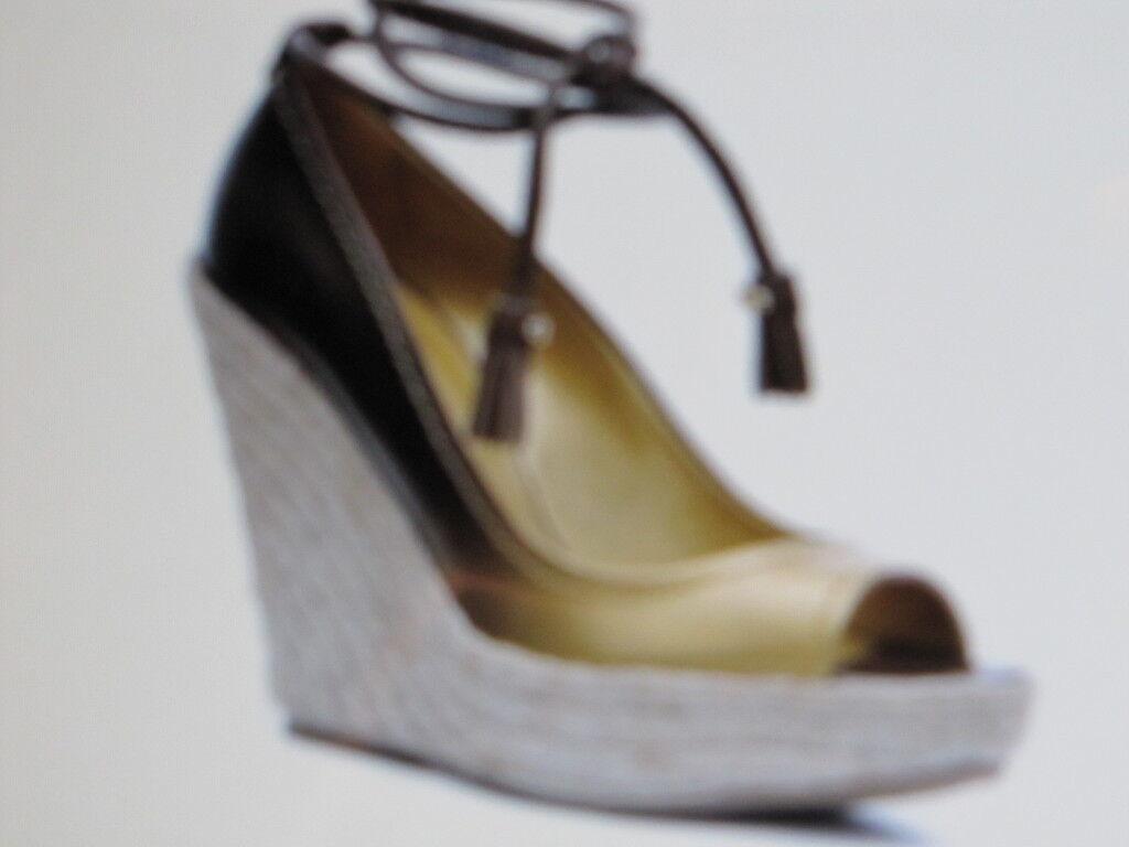 Sergio rossi Chaussures Talons Hauts Plateforme Escarpins Sling Espadrills or en cuir 40.5