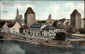 Strassburg-Strassbourg-Frankreich-France-Elsass-Alsace-AK-1910-Fluss-Bruecke-Pont