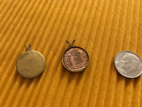 Ancient Roman SOLDIER Coin Necklace Pendant   Cabachon Locket Base Roman Coin