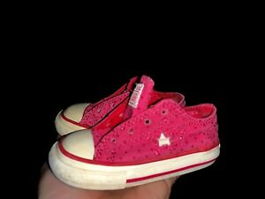 7eec0c947354 CONVERSE ONE STAR Hot Pink Sparkle Fuchsia Girls Toddlers Shoes Sz 5 ...