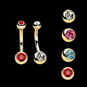 Gold-Plated-Surgical-Steel-Double-Jewelled-CZ-Belly-Bar-Navel-Ring