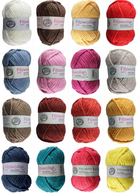 Gründl Filzwolle Uni, Funky, Color  50g (35,00€/kg) Wolle Schurwolle